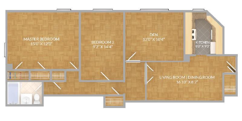 Stuytown East Village Master Bedroom 2 BRflex Room to Rent – Stuy Town 2 Bedroom Floor Plan